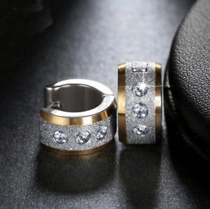 Women Ear 18K Gold/Silver Crystals Huggie Clicker Thick Wide Stud Hoop Earrings