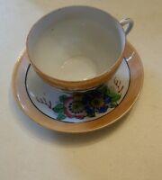 015 Japan Hand Painted Floral Leaf Luster Lusterware Porcelain Tea Cup Saucer Se