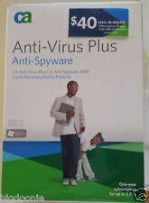 NEW SEALED Computer Associates CA Anti-Virus Plus Anti-Spyware 2008 1 Yr 3 PCs