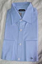 $595 NWT TOM FORD 15.75 eu40 Blue point textured french cuff cotton dress shirt