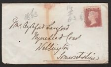 Gb 1863 Queen Victoria 1d Red Stamp On Cover Salisbury To Wellington Somerset
