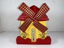 Vintage 1977 Miller Studio Inc Windmill Chalkware Thermometer