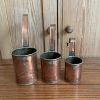 Vintage Copper Mill Farm Measures Milk Measuring Cups Weights & Measures Stamped