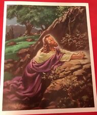 "JESUS Christ In GETHSEMANE PRAYER art print Warner SALLMAN  1970's vintage 6""x8"""