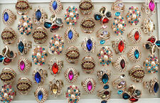 36pcs gros lots assortis Big Charme Cristal Strass Mode Rings EH333
