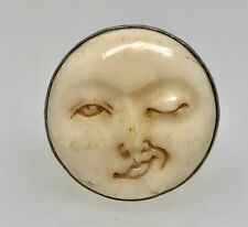 Vintage Sterling Silver Carved Bovine Bone Winking Moon Face Ring Sz 8