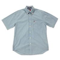Mens Tommy Hilfiger Short Sleeve Button Down Shirt S Small Blue Plaid Pocket