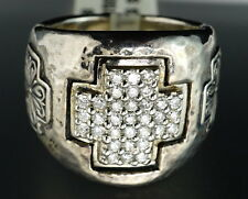 $2250 Scott Kay Silver Diamond Celtic Cross Hammered Cocktail Ring New