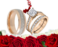 His and Her TUNGSTEN STERLING cz Rose Gold ENGAGEMENT WEDDING Matching Rings Set