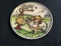 """Joan Walsh Anglund April collector's 7.75"""" plate girl & boy & goat 1966"""