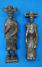 Antique  Wooden Hand Carved Religious Figure and Figurine Wood Pair Continental