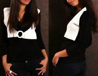 Damen Double Look Weste Pulli Strick Pullover 34/36/38 Freesize schwarz weiß TOP