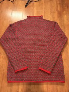 J Crew Hand knit Sweater size Large Mens Wool Red