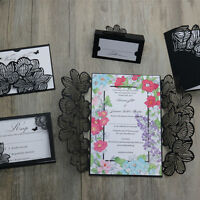 Laser cut Black Floral Lace Wedding Invitations/rsvp/wish well cards-Free print
