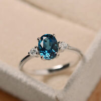 1.40 Ct Genuine Real Diamond Oval Cut Topaz Ring 14K White Gold Rings Size M N O