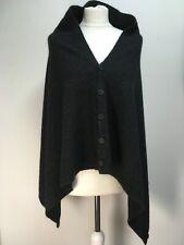 Native World black grey melange wrap poncho sleeves scarf shawl wool silk possum