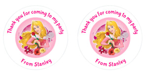 24 Personalised Aurora, Sleeping Beauty Stickers Round  Party Labels