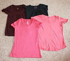 LOT OF 4 * Medium KNIT TOPS/T-SHIRTS (red, orange, black, purple) EUC