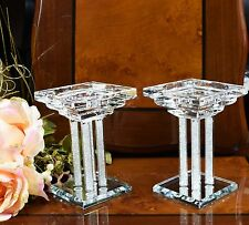 Pair of Crystal Candle Stick Holder Swarovski Elements Mirror Base with Gift Box