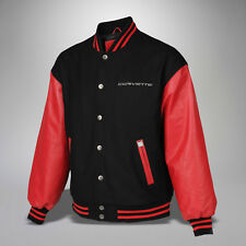 Mens Corvette Varsity Jacket (Red Black) Leather & Wool - 5X 5XL
