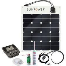 SunPower Semi Flexible Solar Panel Kit 50W 12V, 10A controller with LCD & USB