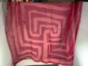 Vintage Vera Neumann pink and light pink geometric designs scarf