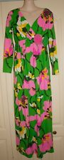 Vintage 70's Miss Elliette Bright Floral Maxi Dress