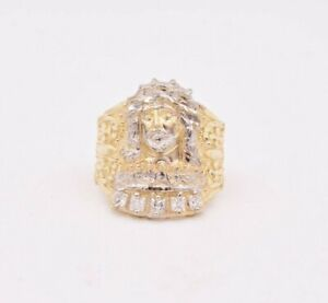 Large Men's Jesus Head Last Supper CZ Ring Real Solid 10K Yellow White Gold