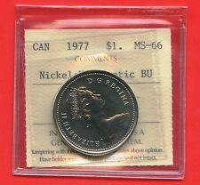 1977 Canada Nickel Dollar BU Graded ICCS MS66 Certification # CK 775
