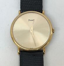 PIAGET 9025 Slim 18K Solid Gold Dress Watch Black Lizard Band Original w/Case