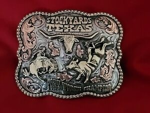 RODEO TROPHY BUCKLE CHAMPION VINTAGE~ALL AROUND RIDING☆FORT WORTH TEXAS #253