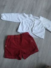 Girls Shorts And Cardy Age 12-18 Months