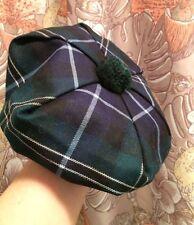 Scottish Tam Hat Blue Green Plaid Tartan Pom Genuine REGAL VIntage NOS New
