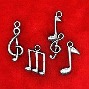 Tibetan Silver Music Notes Theme Charm Pendant Bead Finding Jewellery Making