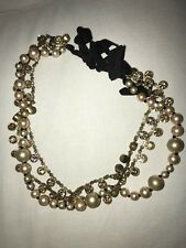 Pink Rose Gold see description Jcrew Pearl Rhinestone Ribbon Necklace