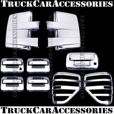 For FORD F150 2009-2014 Chrome Covers Towing Mirrors+Doors+Tailgate+Tail Lights