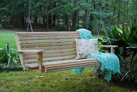 6ft Cypress Wooden Wood Roll Bench Porch Swing With Hanging Chains Made In USA