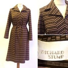 Vintage 60s Richard Stump Brown Zigzag Graphic Granny Dress Size 12 14 Apprx