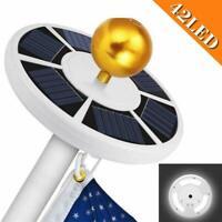 Solar Powered 42 LED Flag Pole Light Night Super Bright Flagpole Waterproof