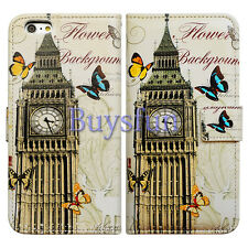 Bcov Big Ben Clock Tower Leather Wallet Cover Case For iPod Touch 5 6