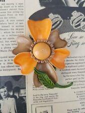 green stem and leaf vintage brooch Orange and brown tin metal flower with