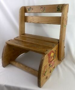 Vintage Wood Toddler Child Chair Convertible Step Stool
