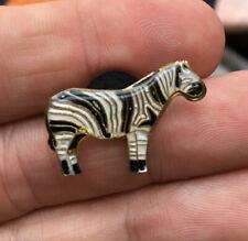 Zebra enamel pin Nos vintage 80s hat lapel bag Africa animals brooch pendant new