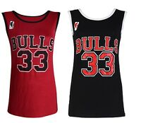 New Womens Top Chicago Bulls 33 Basketball Vest Ladies T Shirts