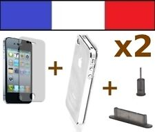 2 PACK DE PROTECTION iphone 4 4s bouchon cache anti poussière fumé film coque tr