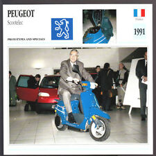 1991 Peugeot Scootelec Electric Scooter Jacques Calvet Motorcycle Photo Card