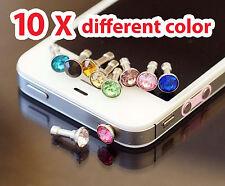 10x Bling Crystal Diamond Metal Cap Headphone Plug for iPhone 6 Plus 5s 5 4S 4