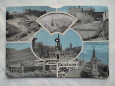 EDINBURGH SCOTLAND NOVELTY POSTCARD 1961,ROTATING WHEEL B/W PHOTOS,ELIZABETH II
