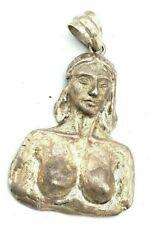 Vtg 1950s Modernist NUDE LADY BUST Sterling Silver HANDMADE Pendant for Necklace