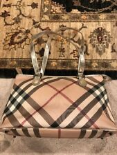 Burberry Nova Check Patent Leather Tote Bag - AUTHENTIC